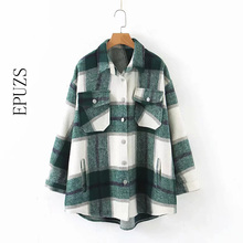 Autumn winter green plaid jacket and coat Fashion button long sleeve coat casual