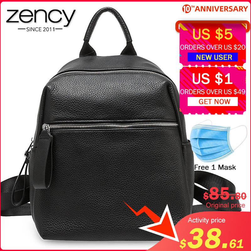 Zency Fashion Women Backpack 100% Genuine Leather Daily Casual Travel Bag High Quality Schoolbag For Girls Black Knapsack