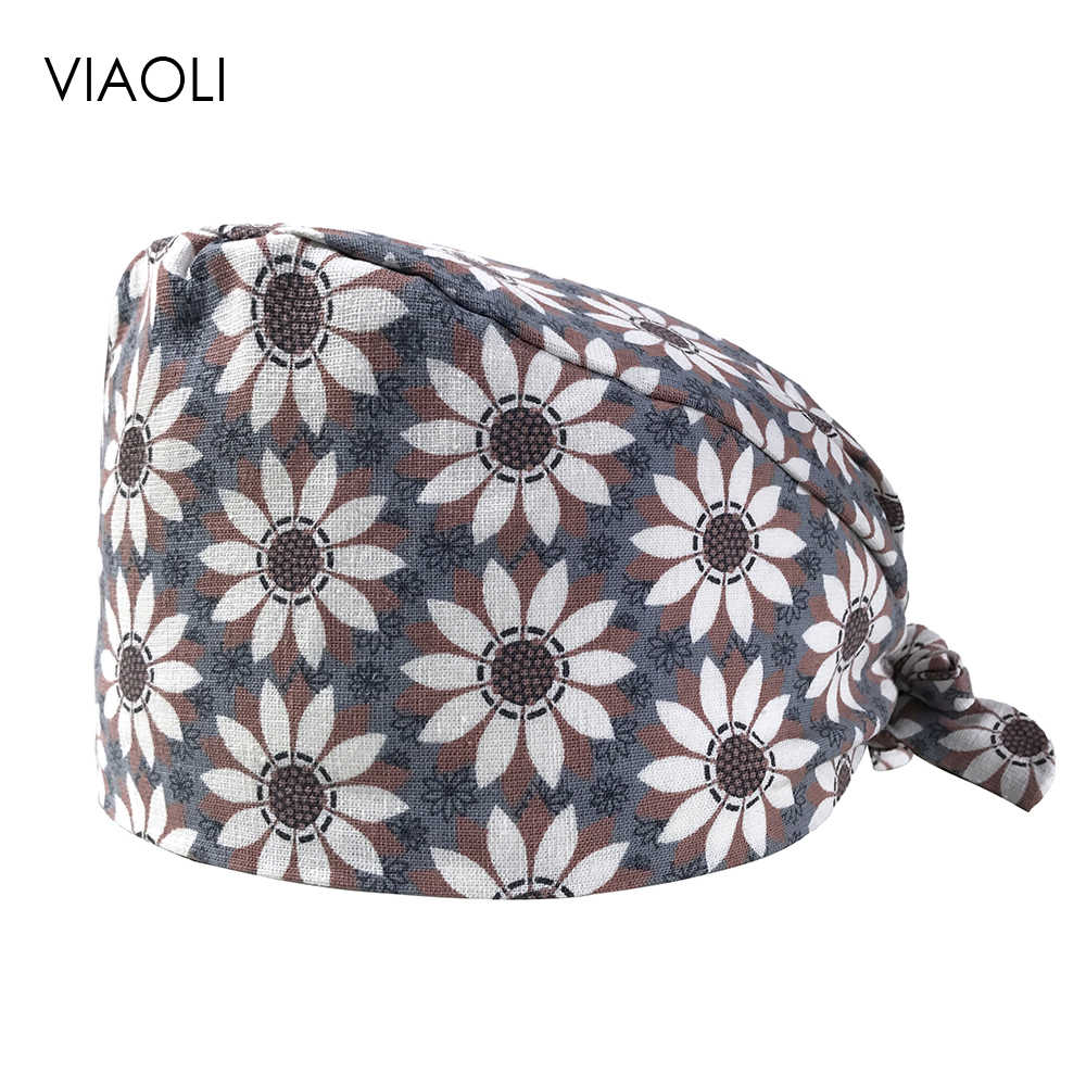 new Unisex cotton Sun flower cartoon print hats adjustable women scrubs hat beauty salon nursing cap lab coat pet shop Scrub Cap