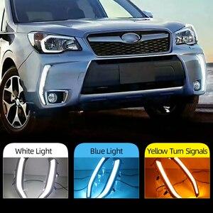 Image 2 - Car Flashing 2Pcs LED Daytime Running Light DRL Turn siganl with night blue for Subaru Forester 2013 2014 2015 2016 2017 2018