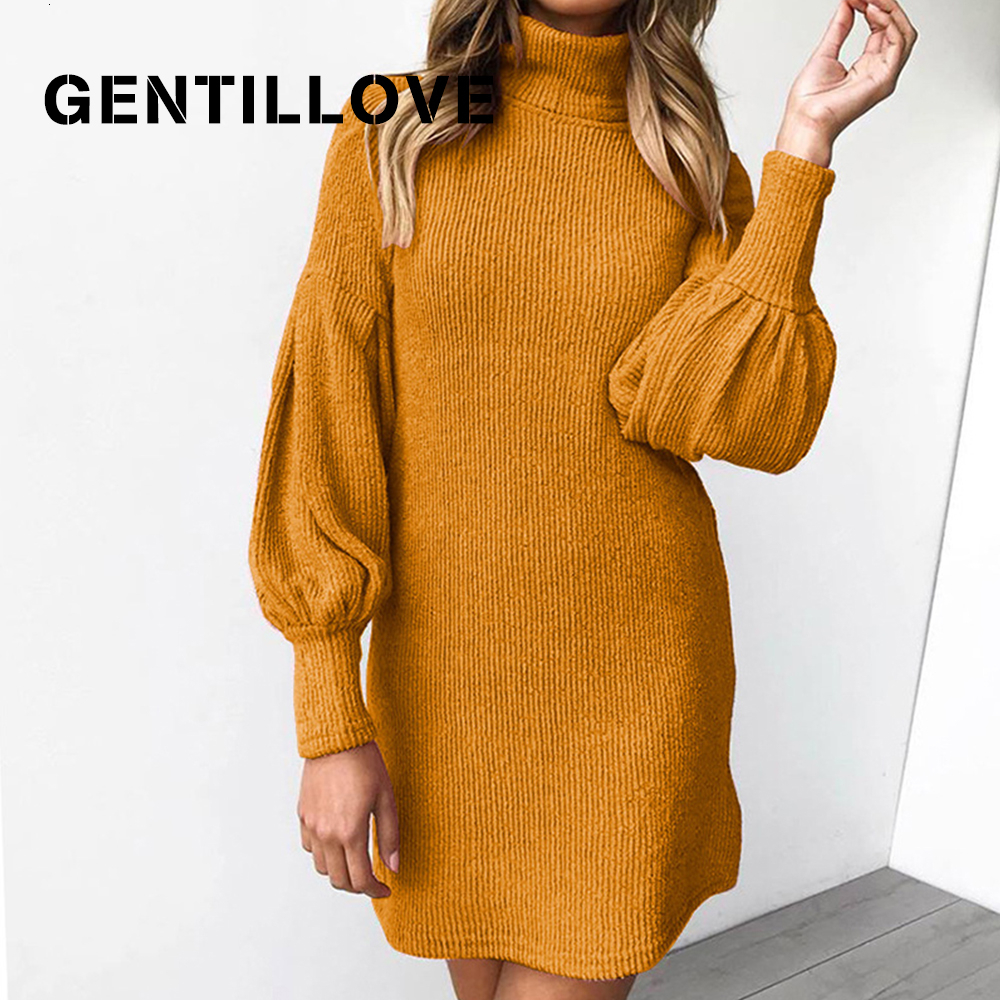 Gentillove Casual Turtleneck Lantern Sleeve Loose Sweater Dress Women Vintage Solid Mini Knitted Dress Winter Harajuku Pullover