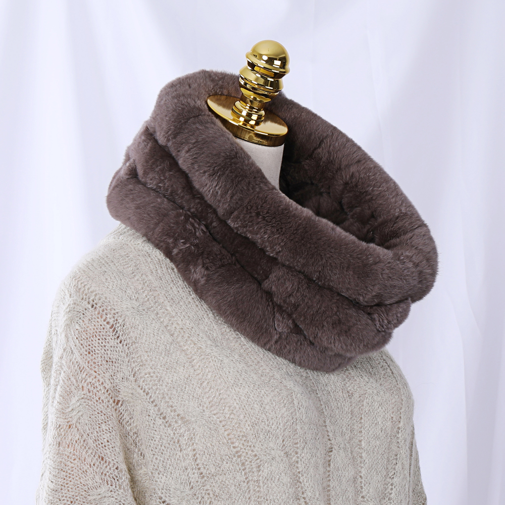 Women's Winter Fashion Luxury Genuine Rex Rabbit Fur Scarf Real Fur Scarves Infinity Cowl Ring Snood Wraps Natural Neck Wamer