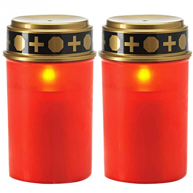 2PCS LED Tea Light Candles Led Solar Powered  Flameless Candles Church Cemetery Ritual And Halloween Lighting