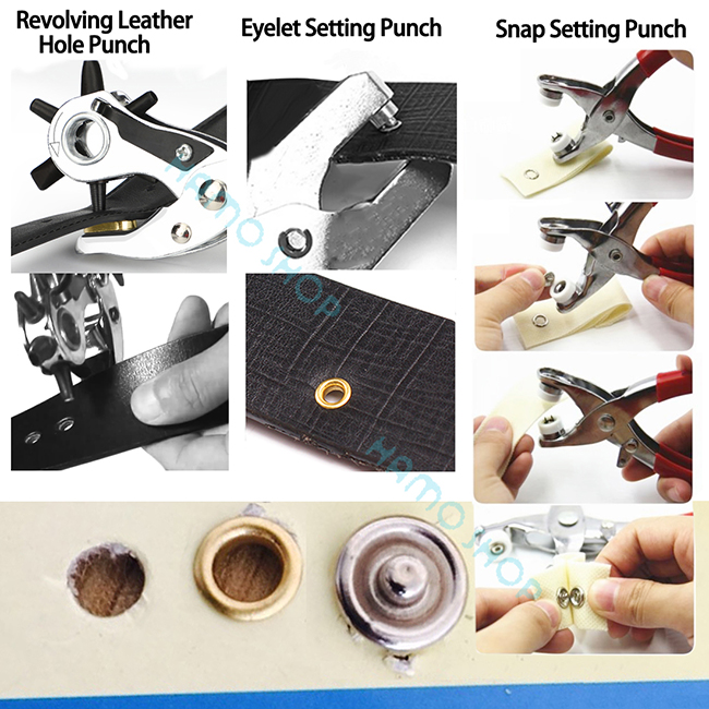 3pc LEATHER HOLE PUNCH GROMMET EYE SNAP SET TOOL new