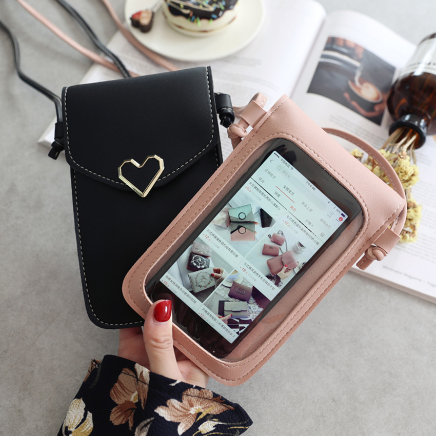 Touch Screen Mobile phone storage bag Transparent Smartphone Wallet Shoulder Strap with Handbag Women Bag for all cell phone