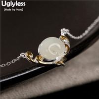 Uglyless Natural Jade Elephant Chokers or Women Solid S 925 Silver Necklaces + Chains Gemstones Elephants Animals Pendants P736
