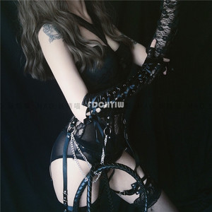 Image 4 - Japanese Underwear Set Women Halter Bustier Tops Thigh Highs Sexy Maid Cosplay Sexy Costumes Corset Lace Lingerie