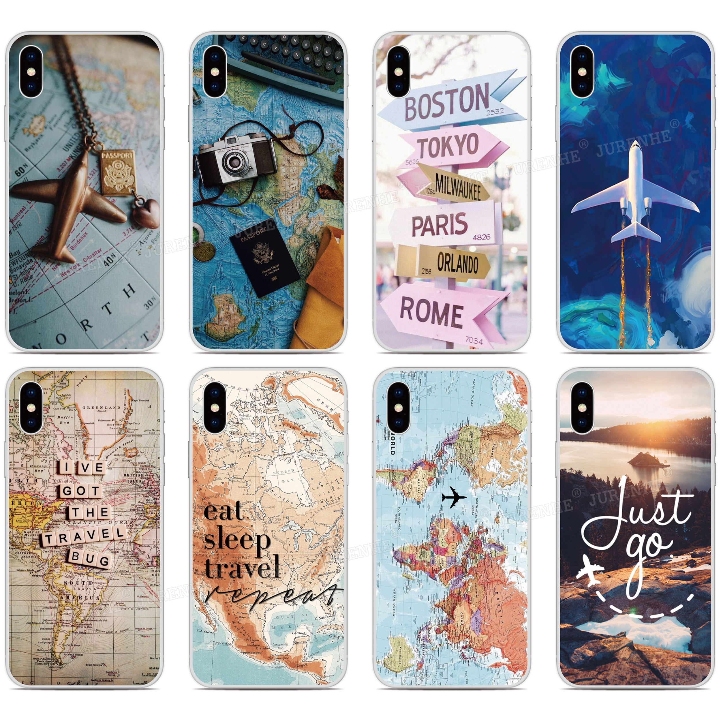 tpu Silicone World Map Travel Plane Phone <font><b>Case</b></font> For <font><b>OPPO</b></font> Find X2 Pro A9 A8 <font><b>A5</b></font> A31 <font><b>2020</b></font> A91 AX5S Realme 5 6 X50 Reno A 3 Pro Cover image