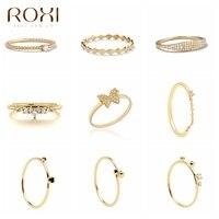 ROXI-Anillo de plata de primera ley con cristales para mujer, sortija, plata esterlina 925, estilo geométrico, mariposa, varios estilos