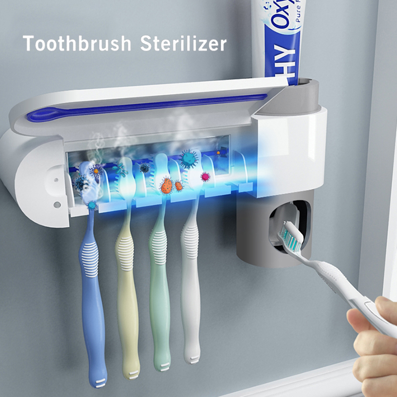 Antibacterial Ultraviolet Toothbrush Holder Sterilizer Automatic Toothpaste Dispenser Squeezer Bathroom Accessories Set