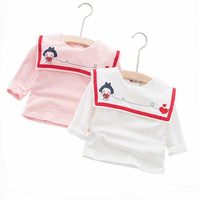 Girls Tops Collar Long-Sleeve Cartoon t-Shirt Print Autumn Love New Pink Shawl Embroidered