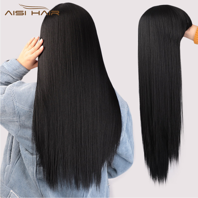 I's a wig Black Long Straight Wig With Bangs Synthetic Hair Wigs for Women 613 Blonde Red Heat Resistant Cosplay Wigs 1