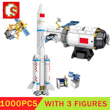 The Space Station Rocket Set Building Sembo Blocks City Astronaut Figures Man Bricks for Children Toys Kids Gift Technic MOC(China)