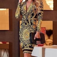 Office Lady V-Neck Long Sleeve Printing Pencil Dress 2019 Women Spring Autumn Elegant Sexy OL Bodycon Sheath Dress elegant v neck warm stylish wiggle work dress office bodycon female sleeve sheath woman dress