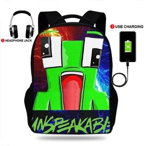 Невообразимые игра печати рюкзаки для мальчиков/Для девочек школьные сумки для ноутбуков подростков Тетрадь USB для зарядки Mochila