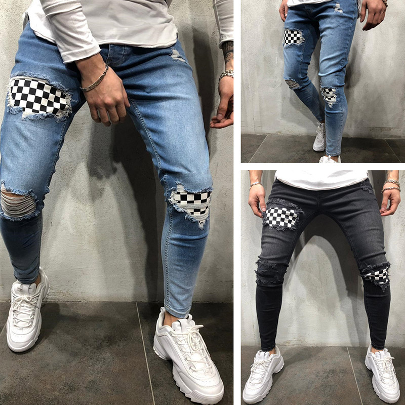 Men Ripped Skinny Biker Hole Jeans Destroyed Frayed Slim Fit Denim Long Pants Stretch Pants