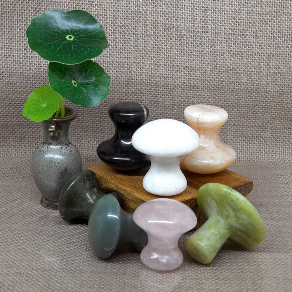 Rose Quartz Mushroom Foot Massage Stone Crystal Jade Facial Body  Gua Sha Thin Anti-wrinkle Relaxation Beauty Health Care Tool