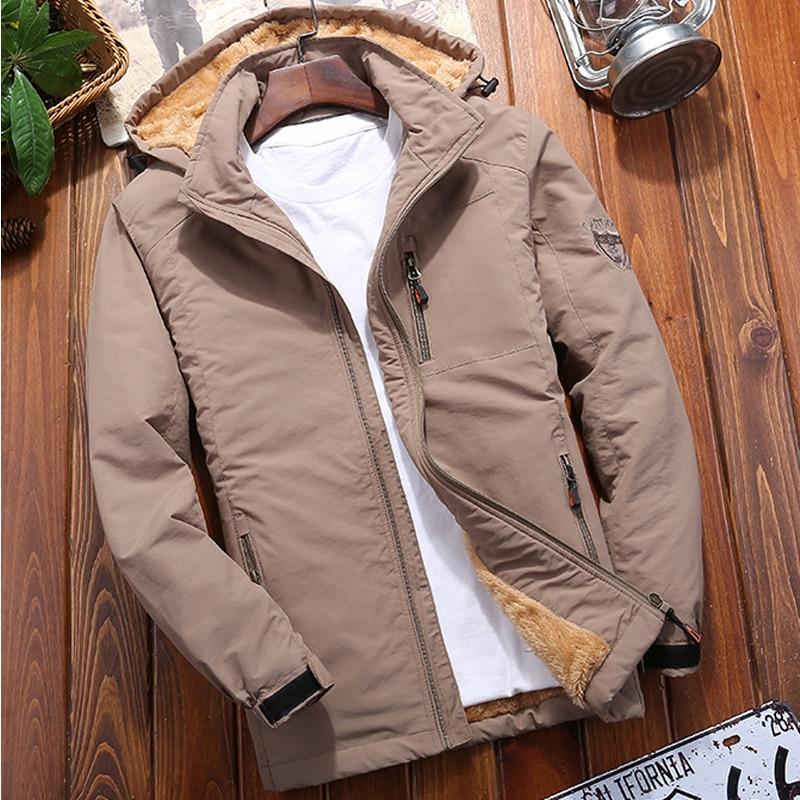 Осенне зимнее пальто, Флисовая теплая утепленная куртка, Мужская верхняя одежда, ветровка, повседневные пальто с капюшоном, мужские военные парки, одежда|Парки| | АлиЭкспресс
