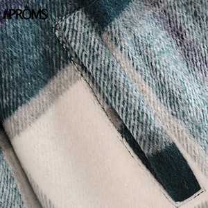 Image 5 - Aproms Groen Wit Plaid Jas Vrouwen Lange Mouwen Pockets Oversized Dames Jassen Herfst Winter Streetwear Casual Vrouwelijke Bovenkleding