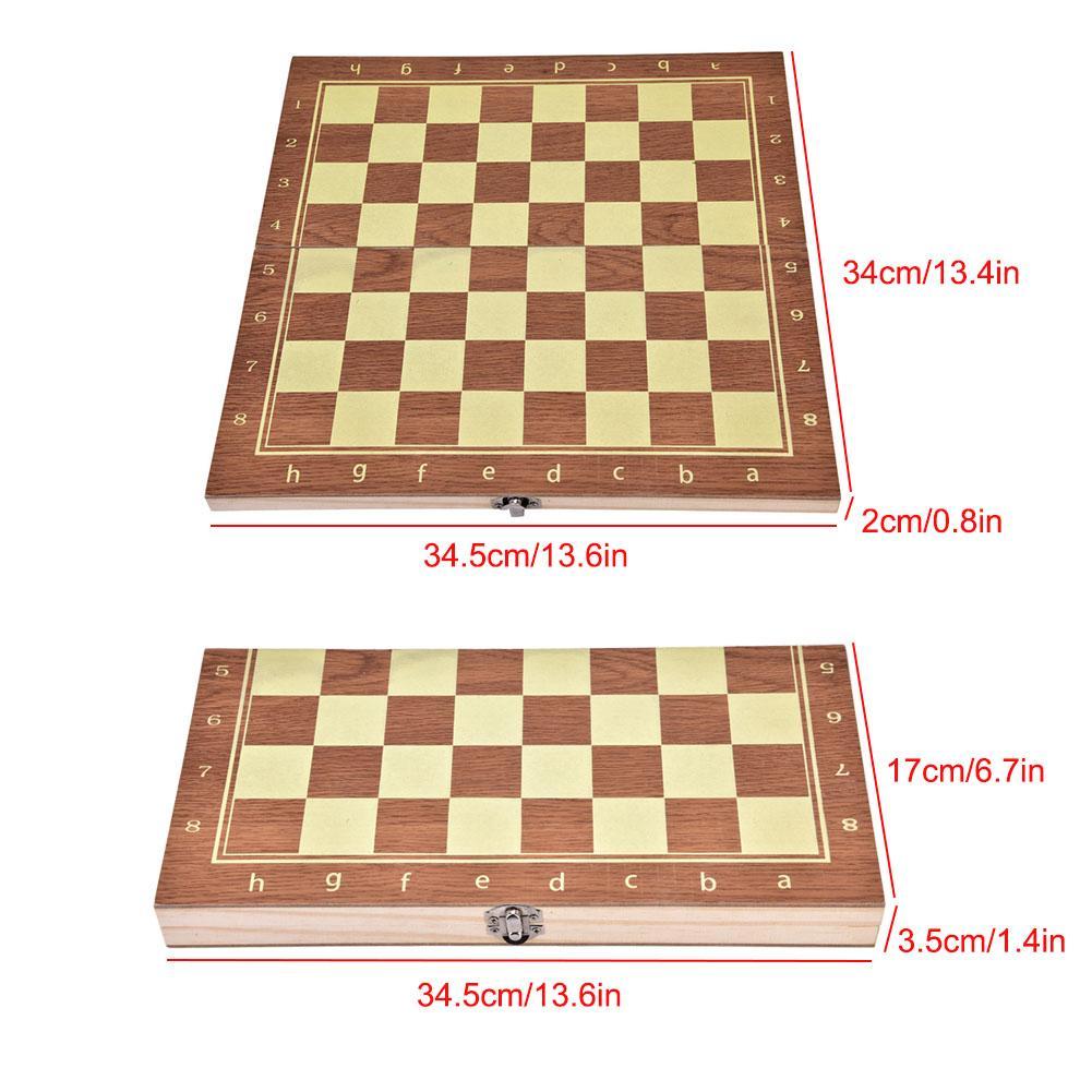 grande conjunto de xadrez de placa dobrável 34*17*3.5cm