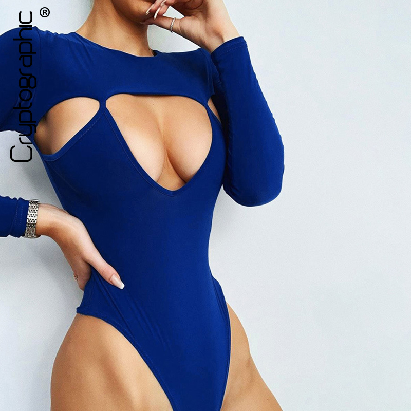 Cryptographic Sexy Hollow Out Women Bodysuit 2019 New Fashion Casual Bodycon Bodysuits O-Neck Long Sleeve Solid Skinny Rompers
