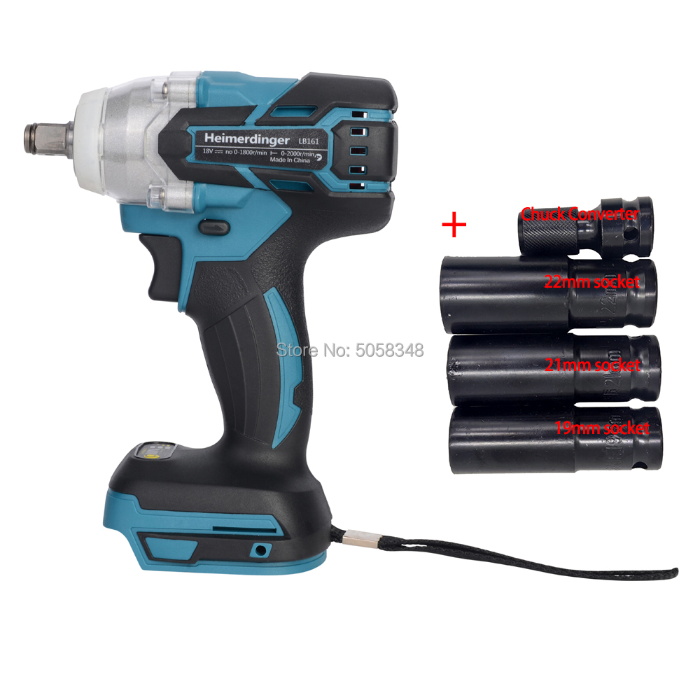 Electric Rechargeable Brushless Impact Wrench Cordless With 19mm 21mm 22mm Socket & Shank Socket Adapter Quick-Release Driver
