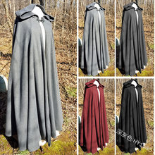 Medieval dos homens do vintage gótico com capuz manto casaco halloween vampiro diabo mago capa viking robe vestido festa cosplay traje