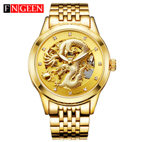 Mechanical Wristwatches Dragon Genuine Waterproof relogio masculino Leather Stainless Steel Band Men Top Luxury Automatic Watch