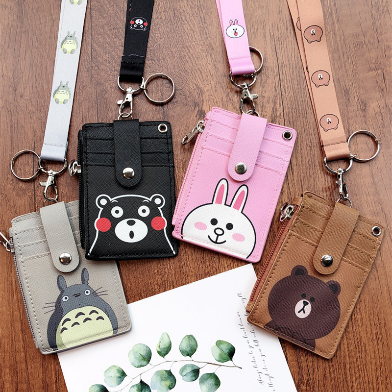 Cute ID Card Holder Wallet Halter Student Bus Card Cover Multifunction Card Bag Money Coin Purse Zipper Pouch Hanging Neck