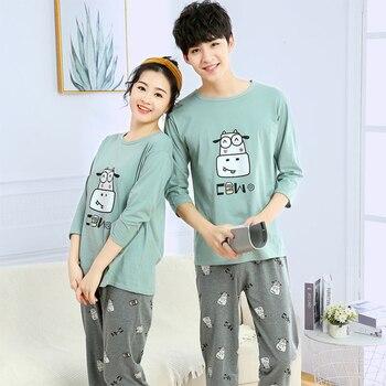 Fashion Lover Pajamas Set Summer Cotton Men Cartoon Short Sleeve Women Sleepwear 2piece Suits Pyjama Couple Home Clothes - discount item  30% OFF Women's Sleep & Lounge
