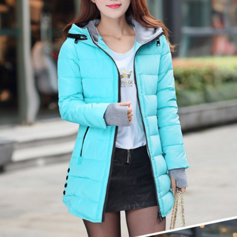 2019 winter women's cotton suit in long slim slimming temperament cotton padded hooded cotton coat