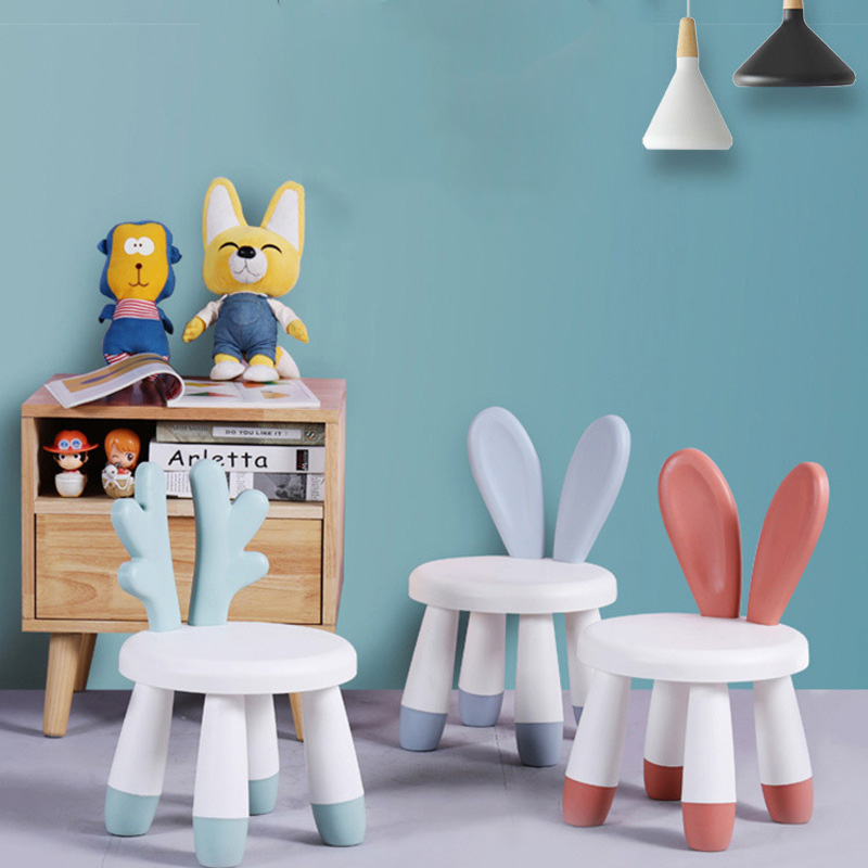 Children's Stool Chair Plastic Thickened Kindergarten Baby Cartoon Small Baby Stool  Bench Cute Non-slip Home Seat Furniture