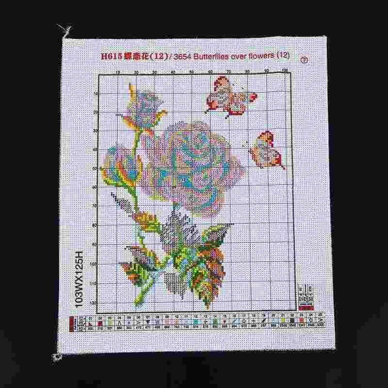 DIY Kit de punto de cruz de cuenta de punto de cruz conjunto de bordado 11CT Ángel mariposa flor patrón punto de cruz 33*38 cm decoración del hogar