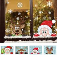 Pegatina de PVC de Navidad para el hogar, embellecedor de dibujos animados, ventanas, copos de nieve, para Año Nuevo, fiesta, vestido de vidrio, decoración del hogar
