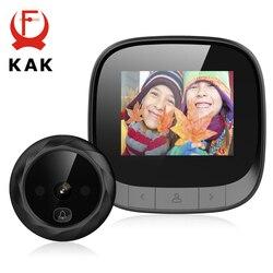 KAK 2.4 LCD Screen Electronic Door Viewer Bell IR Night Door Peephole Camera Photo Recording Digital Door Camera Smart Viewer