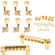 A Set Gold String Saddle Tune-O-Matic Bridge&Tailpiece For Gb Lp Style Electric Guitar(China)