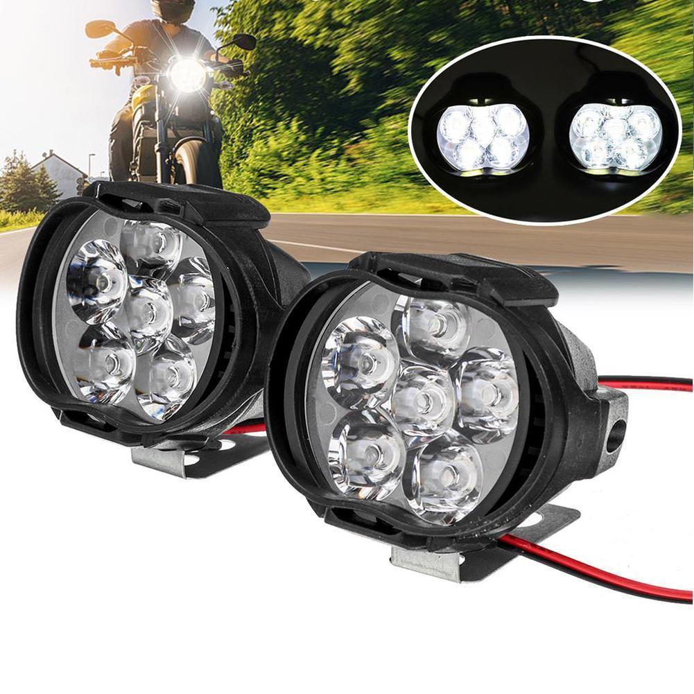 1 Pair Motorcycle Headlight Super Bright Waterproof Accessories Switch Lamp Motorbike Spotlight Headlamp Motorbike Fog 6LED S4P9