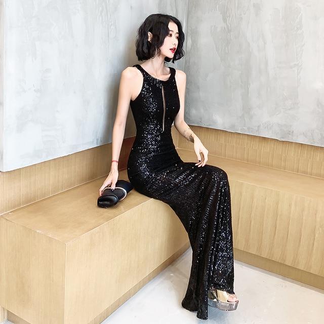 It's Yiiya Evening Dresses For Girls Black Sequined Formal Evening Dresses Sleeveless Halter Mermaid Long Evening Gowns K098 4