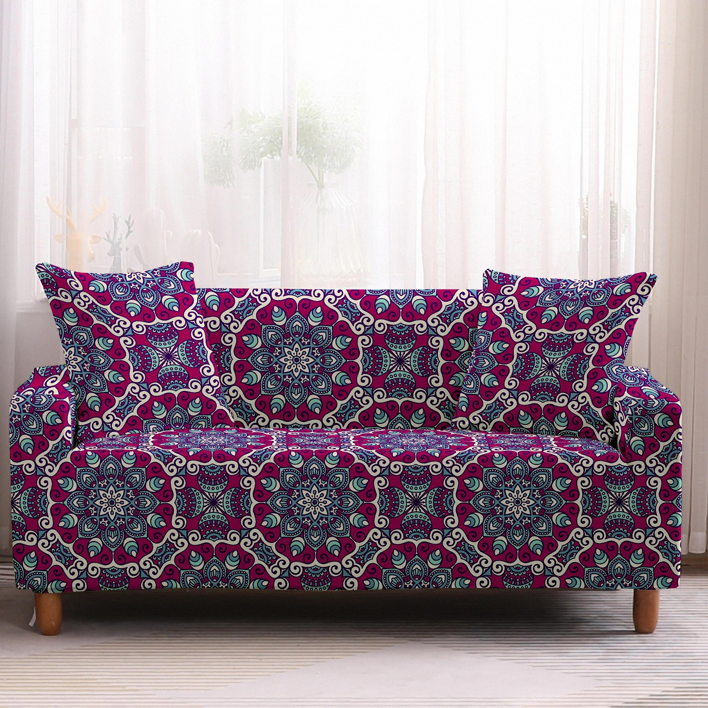 Bohemia Slipcovers Sofa Cover in Mandala Pattern to Protect Living Room Furniture from Stains and Dust 8