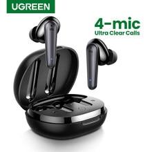 UGREEN HiTune T1 Drahtlose Ohrhörer mit 4 Mikrofone TWS Bluetooth 5,0 Kopfhörer Wahre Wireless Stereo 24H Spielen USB C ladung Earphoe