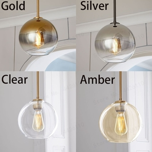 Image 5 - بلوبل الحديثة قلادة ضوء الفضة الذهب التدرج كرة زجاجية معلقة مصباح Hanglamp ضوء مطبخ تركيبات غرفة المعيشة الطعام