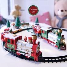 Lights And Sounds Christmas Train Set Railway Tracks Toys Xmas Train GiftToys For Kids Birthday Party Gift Christmas Gift