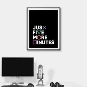 Gamer Gaming Geek Wall Art Poster Canvas Painting Playstation Buttons Just Five More Minutes Game Pad Controller Boys Room Decor