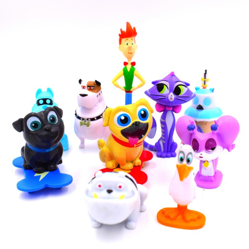 12pcs/lot Puppy Dog Pals Hand-made Doll Model Cakes Decoration Model Toy Doll For Children's Gift