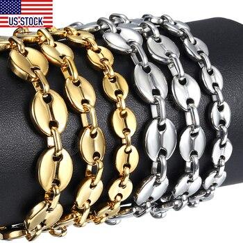 Granos de café pulsera de cadena de enlace/7/9/11mm de acero inoxidable de Color oro y plata para los hombres las mujeres joyería de moda regalo DKBM169