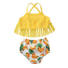 12M-5Y Toddler Kids Baby Girl Swimwear Bikini Suit Tassel Tops Banana Shorts Swimsuit Beachwear Outfits Girl Clothes 2Pcs Set(China)
