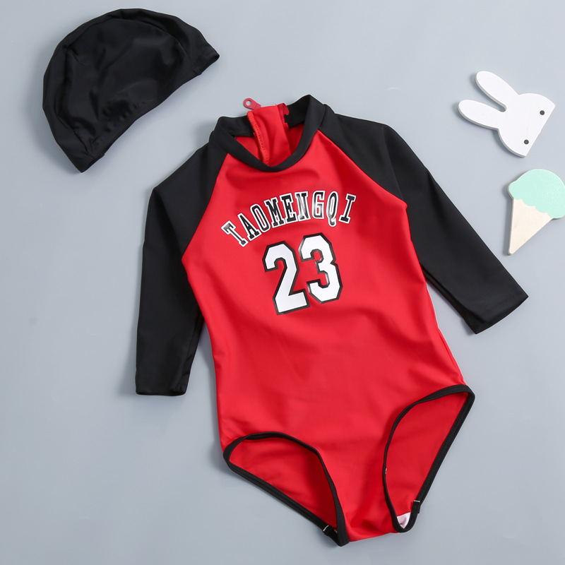 KID'S Swimwear GIRL'S Girls One-piece Long Sleeve South Korea Cute Princess Small CHILDREN'S Baby Infants Tour Bathing Suit