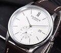 Parnis 41mm relógio mecânico automático masculino minimalista marca de luxo negócio à prova dwaterproof água calendário relógio de pulso pulseira de couro