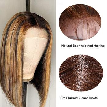 Highlight Bob Wig Human Hair Brazilian Ombre Lace Closure Wig 4*1 T Part Human Hair Wig Short Bob Human Hair Wig For Women Queen 4