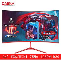 Изогнутый ЖК-монитор DASKA для игр и соревнований, светодиодный экран для компьютера 24 дюйма, полный вход Hdd, 2ms Respons, HDMI/VGA